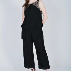 Chanel Black Tweed Jumpsuit with Rouching